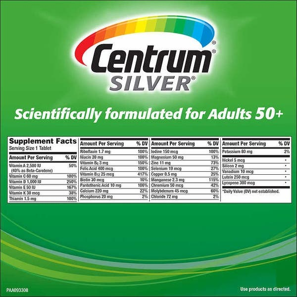 Shop Centrum Silver Women 50 Multivitamin Multimineral Supplement 250 Tablets Purple 325 Caps Overstock 25493304