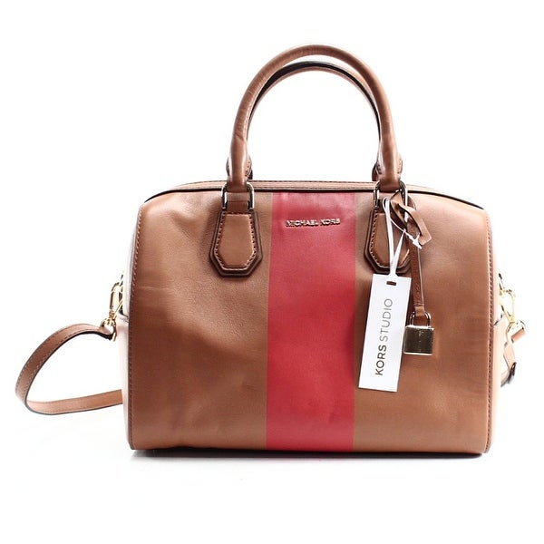 6c5d0e255203 Michael Kors NEW Brown Leather Center Stripe Mercer Duffle Satchel Bag