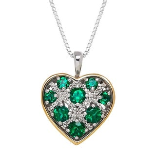 1 3/8 ct Created Emerald Heart Pendant with Diamonds in Sterling Silver & 14K Gold - Green