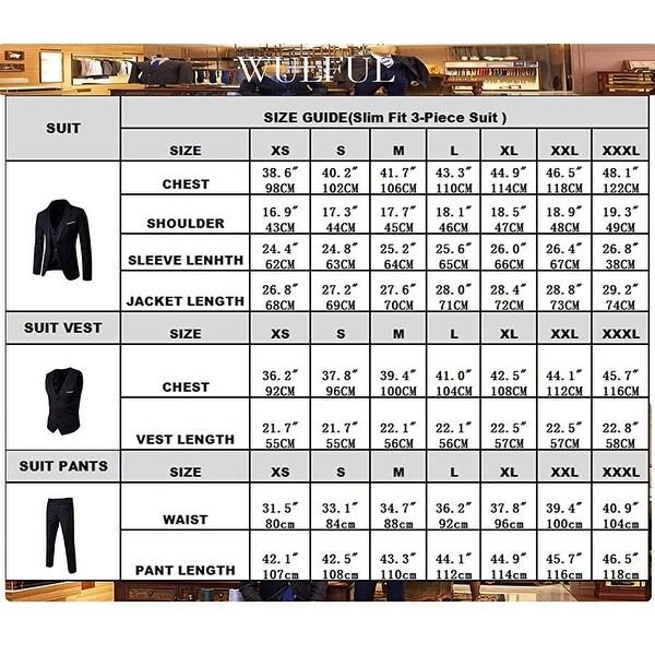 WULFUL Men/'s Suit Slim Fit One Button 3-Piece Suit Blazer Dress Business Wedding Party Jacket Vest /& Pants