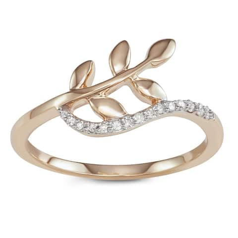 HDI 0.08CTTW Yellow Gold Diamond Accent Leaf Ring