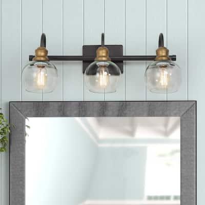 "Modern Black Gold 3-light Glass Bathroom Vanity Lights Wall Sconces - Rust&Antique gold - L21.9 x W7"" x H8.5"""