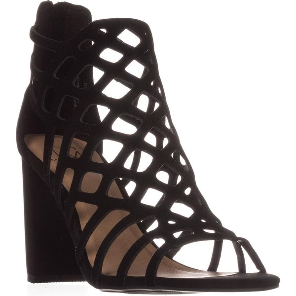 MG35 Cadence Caged Strappy Dress Sandals, Black