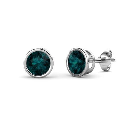 TriJewels Gemstone Bezel Set Solitaire Womens Stud Earrings 14K Gold