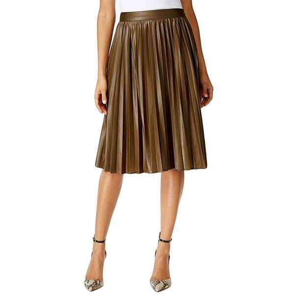 Grace Elements Faux Leather Pleated Skirt