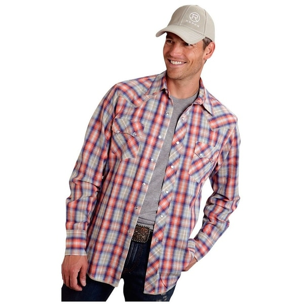 96715c7c32 Shop Roper Western Shirt Mens Plaid L S Snap Orange - Free Shipping Today -  Overstock.com - 15380572