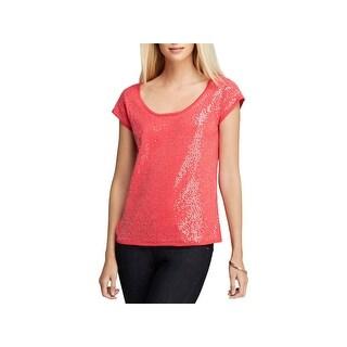 Joan Vass Womens Wate Pullover Top Sequined Cap Sleeves