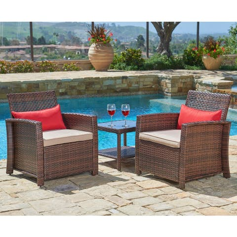 Suncrown Outdoor 3-piece Wicker Bistro Set w/Coffee Table