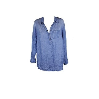 Style & Co Plus Size Blue High-Low Hem Denim Shirt 0X