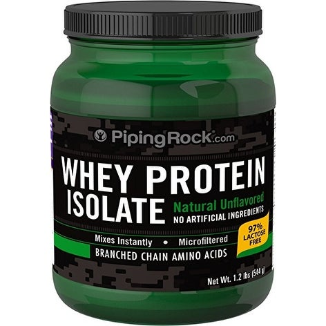 Piping Rock Whey Protein Isolate Powder Natural Unflavored 1.2 Lbs (544 g) - green - 1.2 lb