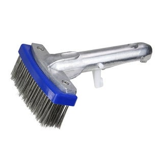 """5.5"""" Blue and Gray Stainless Steel Algae Swimming Pool Brush with Aluminum Connector - N/A"""