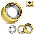 Mirror Polished Removable Steel Disc Gold IP Over Steel Double Flared Screw Fit Tunnel(Sold Ind.) - Thumbnail 0