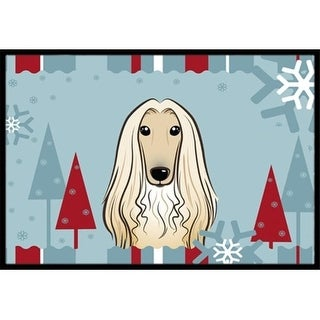 Carolines Treasures BB1740JMAT Winter Holiday Afghan Hound Indoor & Outdoor Mat 24 x 36 in.