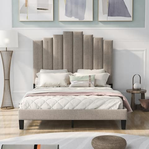 Full Size Upholstered Platform Bed,No Box Spring Needed,Beige