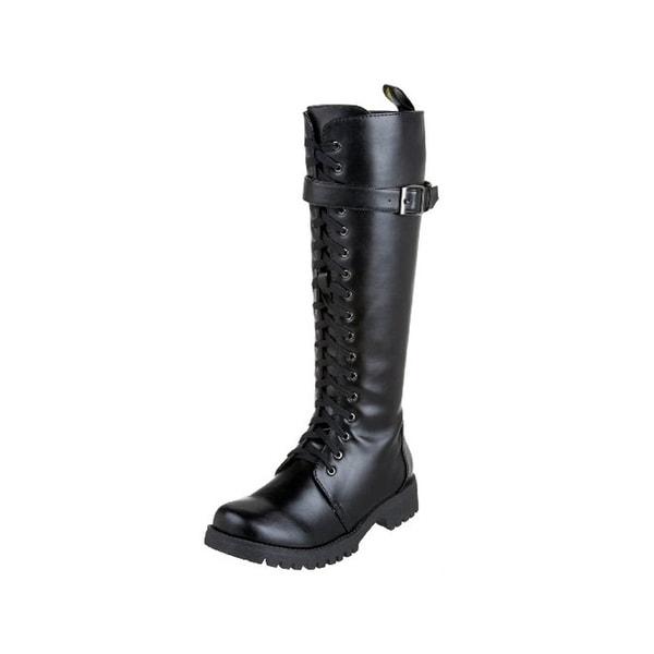 Volatile Womens Combat Combat Boots Faux Leather Lace Up