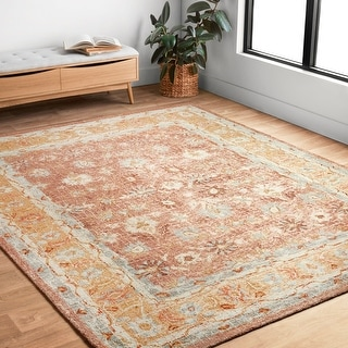 """Hand-hooked Traditional Rust/ Gold Mosaic Wool Rug (7'9 x 9'9) - 7'9"""" x 9'9"""""""