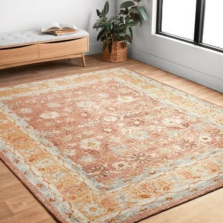 """Hand-hooked Traditional Rust/ Gold Mosaic Wool Rug - 9'3"""" x 13'"""