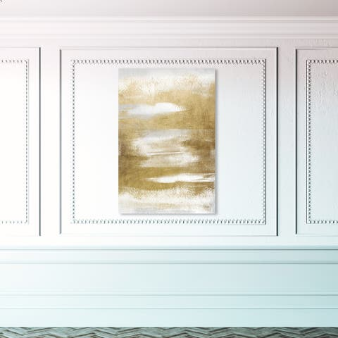 Oliver Gal 'In Golden Waves' Abstract Wall Art Canvas Print Paint - Gold, White