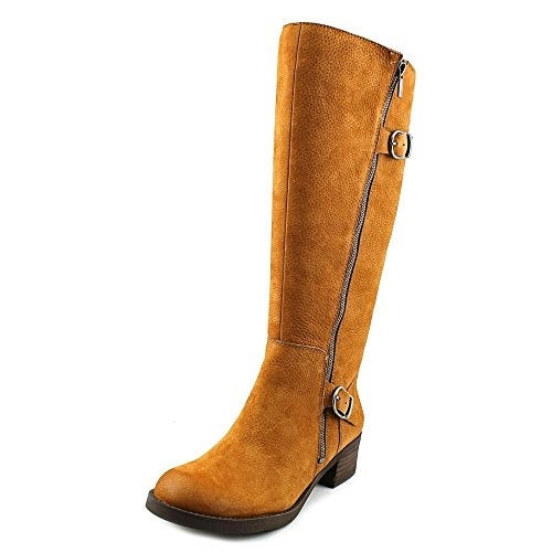Lucky Brand Womens Hoxy Wide Calf Leather Round Toe Knee High Cowboy Boots