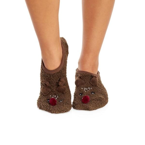 PJ Salvage Women's Reindeer Slipper Socks With Grippers - White