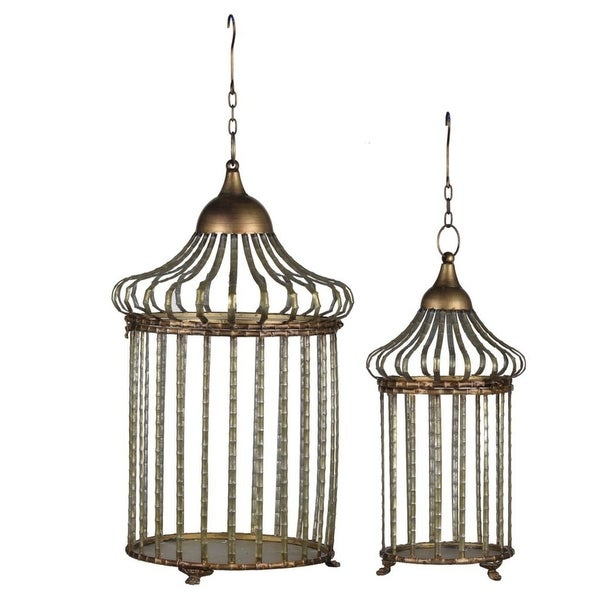 """Set of 2 Gold and Brown Classic Vintage Style Hanging Cages 24.75"""" - N/A"""