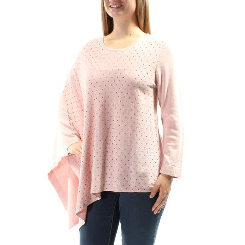 Womens Pink Long Sleeve Jewel Neck Casual PONCHO Sweater Size M