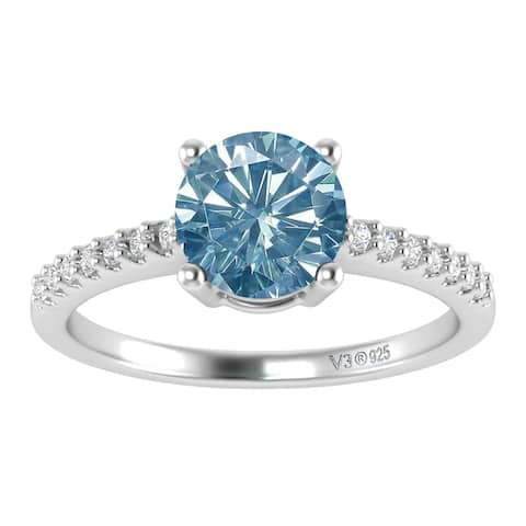 Sterling Silver with Blue Moissanite and White Topaz Engagement Ring