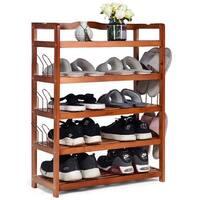 Costway 5-Tier Wooden Shoe Rack Shelf Storage Organizer Entryway W/ 6 Shoe Stretcher - as pic