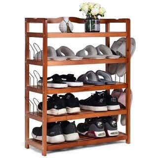 Costway 5-Tier Wooden Shoe Rack Shelf Storage Organizer Entryway W/ 6 Shoe Stretcher
