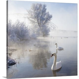 Premium Thick-Wrap Canvas entitled Two swans swimming in icy winter wonderland. https://ak1.ostkcdn.com/images/products/is/images/direct/03f9ed092ea2e550818dd7407ec413954a3a7d42/Premium-Thick-Wrap-Canvas-entitled-Two-swans-swimming-in-icy-winter-wonderland..jpg?impolicy=medium