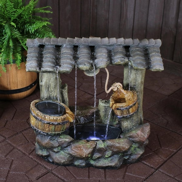 Sunnydaze Enchanted Wishing Well Outdoor Water Fountain with LEDs - 25-Inch