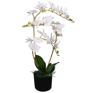 """vidaXL Artificial Orchid Plant with Pot 25.6"""" White"""