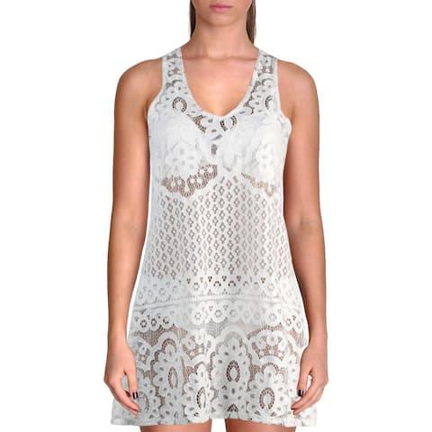 J. Valdi Womens Pina Colada Lace V-Neck Dress Swim Cover-Up