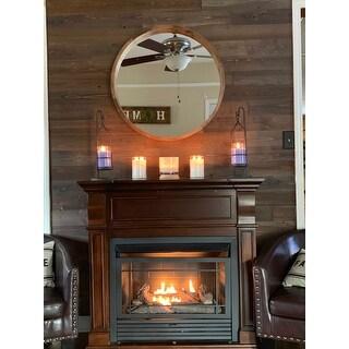 Hutton Round Decorative Wood Frame Wall Mirror, 30 Inch Diameter
