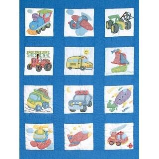 "Stamped White Nursery Quilt Blocks 9""X9"" 12/Pkg-Transportation"