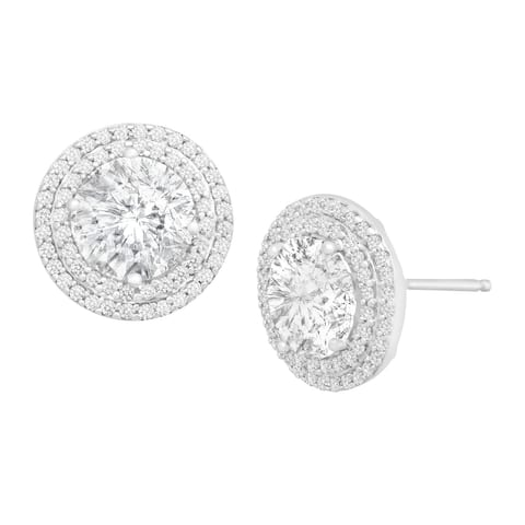Stud Earrings with Swarovski Zirconia in Sterling Silver - White