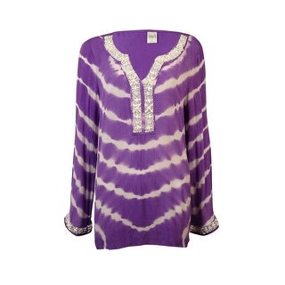 INC International Concepts Women's Beaded Tie-Dyed Swim Cover - Bright purple - 4