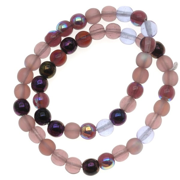 Czech Glass Druk 6mm Round 'Lilac Purple Mix' (50)