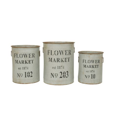 Metal Flower Market Buckets (Set of 3 Sizes) - Grey