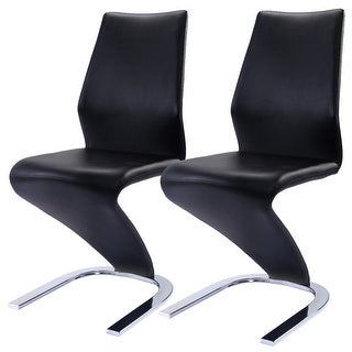 Costway 2 Pcs Dining Chairs PU Leather High Back Furniture Home Dining Room