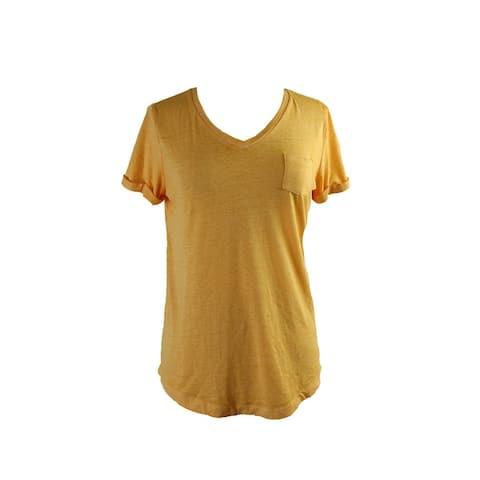 Style & Co. Honey Glaze Short-Sleeve V-Neck Burnout Pocket Tee XS
