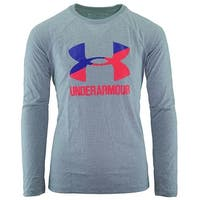 Under Armour Girl's Two Tone Big Logo L/S T-Shirt - Grey/Purple/Pink