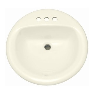 """PROFLO PF194R 19"""" Round Drop In Vitreous China Sink with 3 Holes and Front Overlow"""