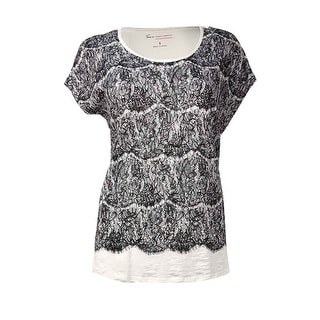 Vince Camuto Women's Printed Lace Design Scoop Neck Top (S, New Ivory) - s