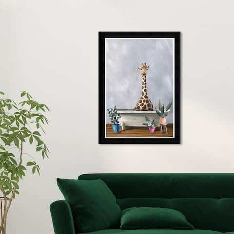 Wynwood Studio 'Giraffe Bath' Bath and Laundry Wall Art Framed Print Bathtubs - Gray, White