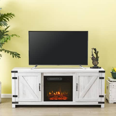 58 in. Oak TV Stand for TVs up to 65 in. with Electric Fireplace