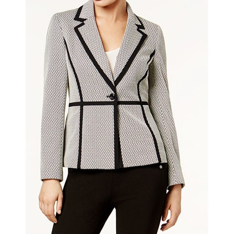 Nine West Beige Black Womens Size 14 Contrast Metallic Jacket