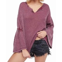 Free People Purple Women's Size Small S Waffle Bell Sleeve Top