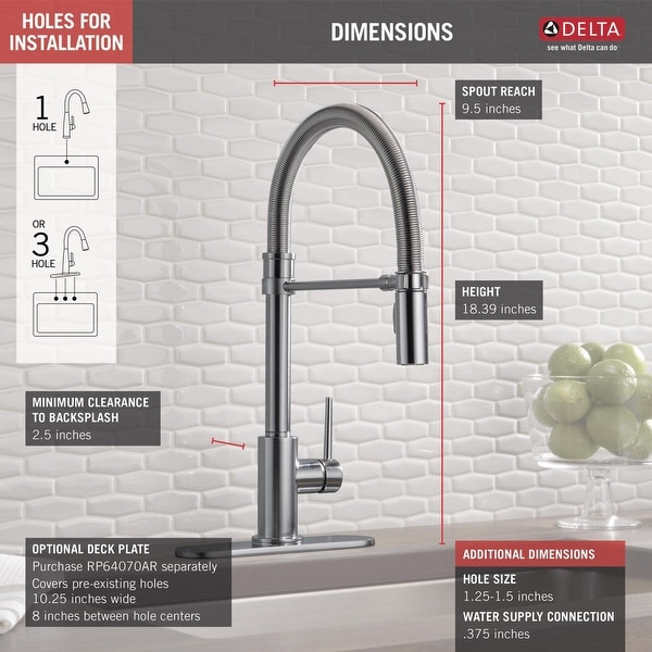 Delta 9659-DST Trinsic Pro Pre-Rinse Pull-Down Kitchen Faucet with