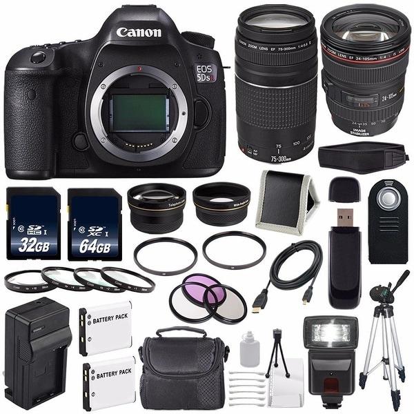 Canon EOS 5DS R DSLR Camera (International Model) 0582C002 + EF 24-105mm f/4L IS USM Lens + EF 75-300 III Bundle